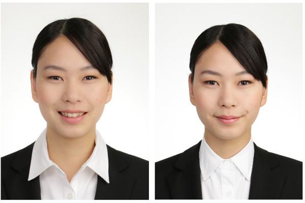就活女子の襟元比較|神戸三宮のココロスタジオにて